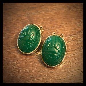 Gold Scarab Earrings - Vintage